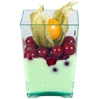Verrine carree en PS vert transparent 5x6,5 cm
